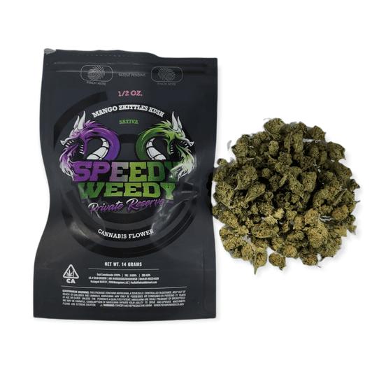 1. Speedy Weedy 28g Small Flower - 7.5/10 - Mango Zkittles Kush (~25% THC)