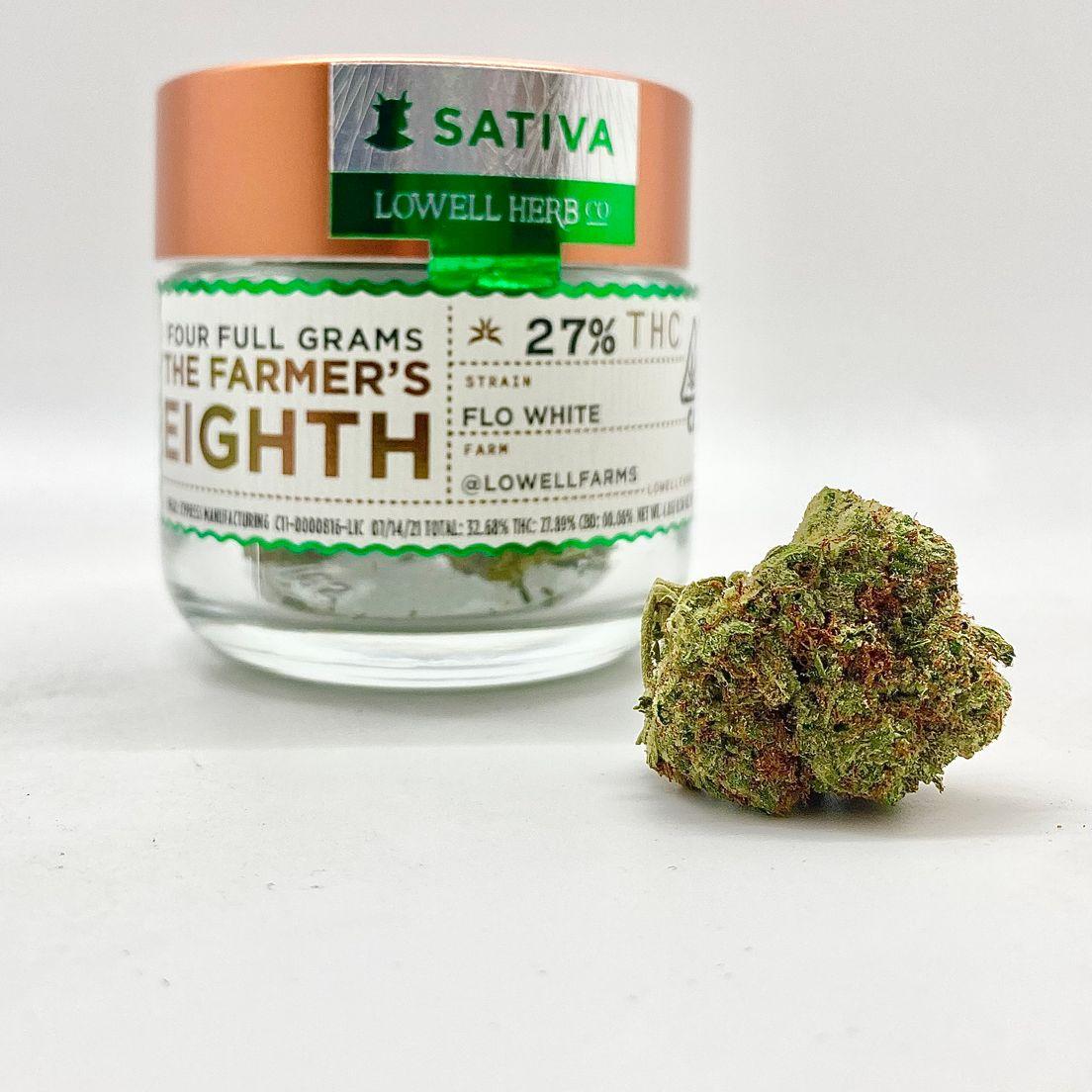 $50 4g 1/8 Flo White (27.89%/Sativa) - Lowell Herb Co.