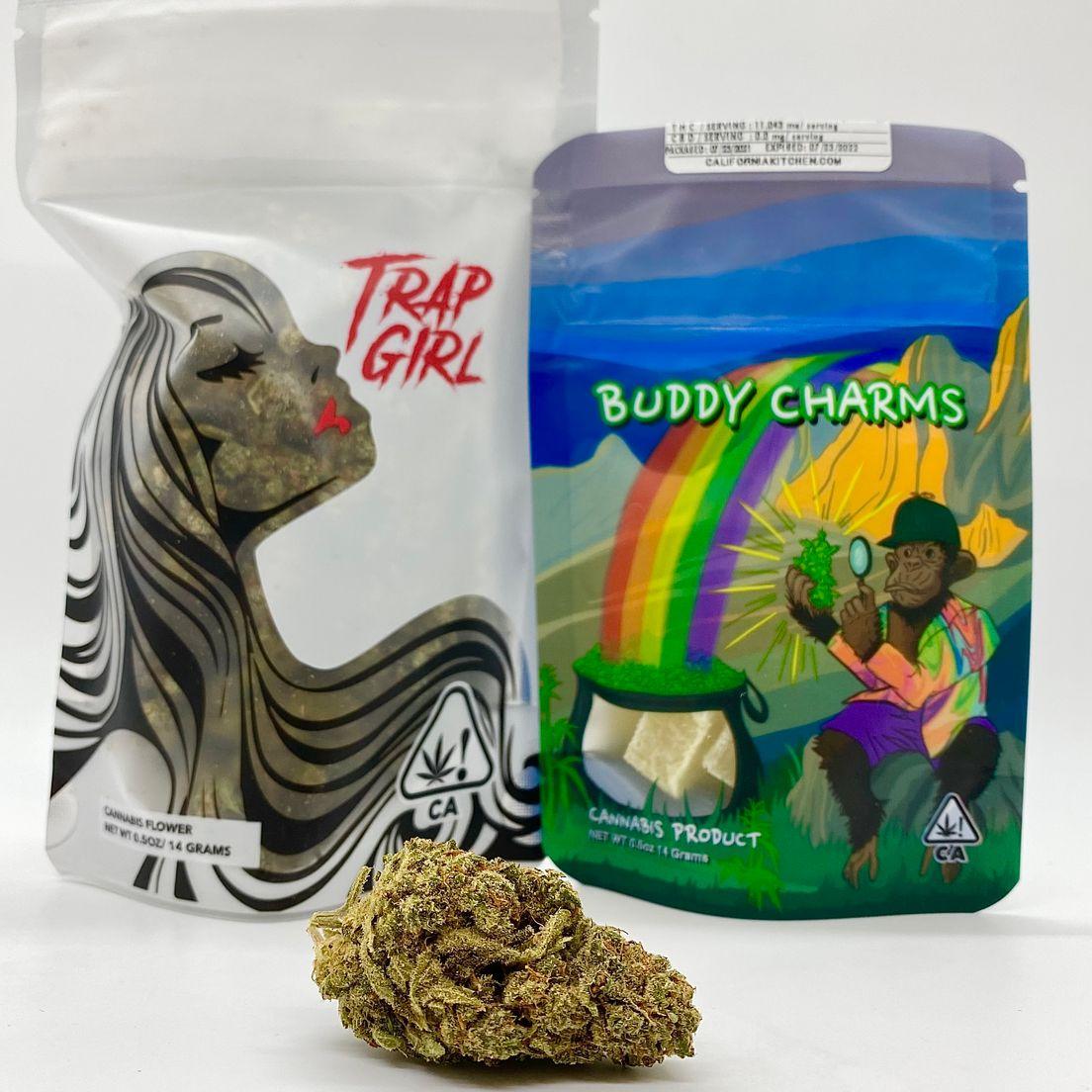 *Deal! $65 1/2 oz. Honey Wine (20.09%/Hybrid) - Trap Girl + 50mg Gummy Cubes - Buddy Charms