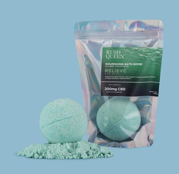 Bombs Kush Queen - Relieve 1:1 25mg CBD/25mg THC | Bath Bomb