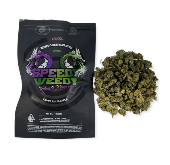 1. Speedy Weedy 14g Small Flower - Quality 7.5/10 - Mango Zkittles Kush (~25% THC)