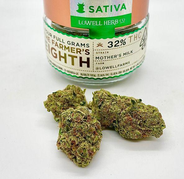 $50 4g 1/8 Mother's Milk (Indoor/32.85%/ Sativa) - Lowell Herb Co.