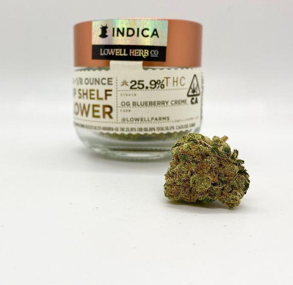 $50 4g 1/8 OG Blueberry Creme (Indoor/26%/Indica) - Lowell Herb Co.
