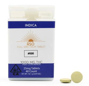 25 mg RSO Tablets Indica Afgoo 1000 mg Package