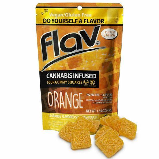 100mg Sour Orange (Sativa) Gummy Squares - Flav