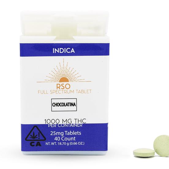 25 MG RSO Tablets Indica Chocolatina 1000mg Package
