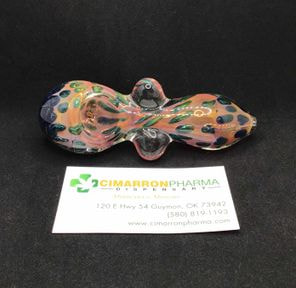 "5"" WINGS GLASS HAND PIPE BLUE AND GREEN MIX"