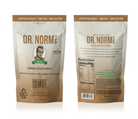 Dr. Norm's - Vegan Peanut Butter Chocolate Chip Cookies Bag 100mg