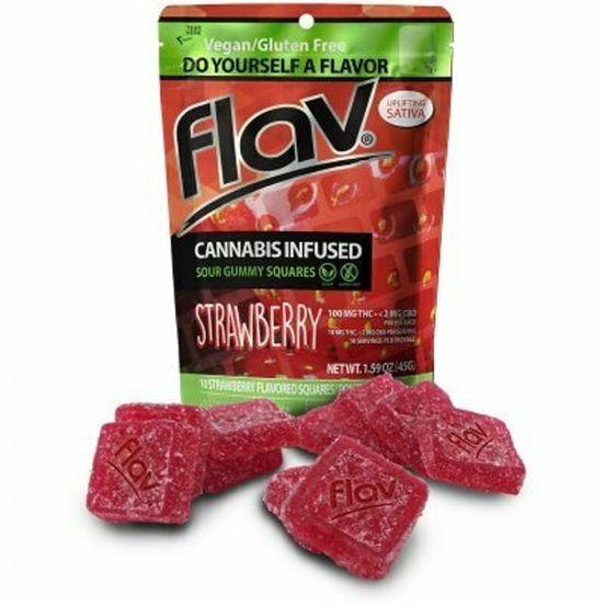 100mg Sour Strawberry (Sativa) Gummy Squares - Flav