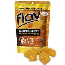 Flav Orange Sour Gummy Squares 100mg