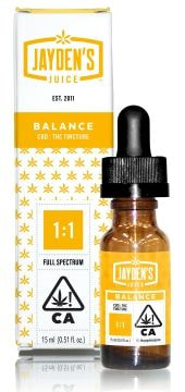 Jayden's Juice Tincture BALANCE 500mg 1:1 CBD/THC 15mL