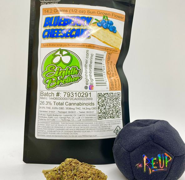 *Deal! $75 1/2 oz. Blueberry Cheesecake (24.9%/Hybrid - Sativa D.) - Eighth Brother + Hacky Sack