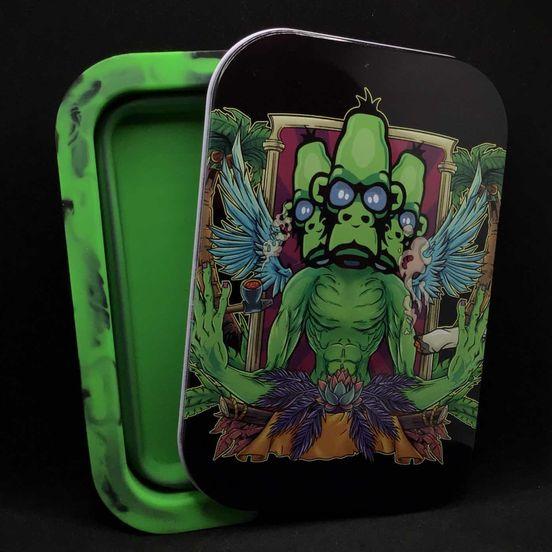 Alien Ape Foldable Stash Jar Tray Triple Alien